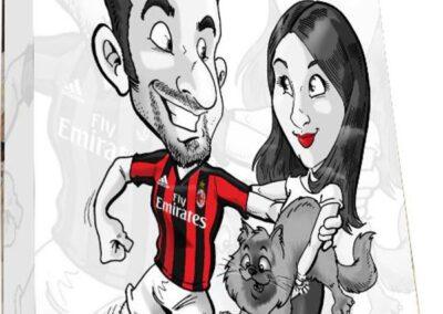 caricatura-sposi-quadro-personalizzato-calcio-gatto_valentino-villanova-400x284 Partecipazioni nuziali con caricatura