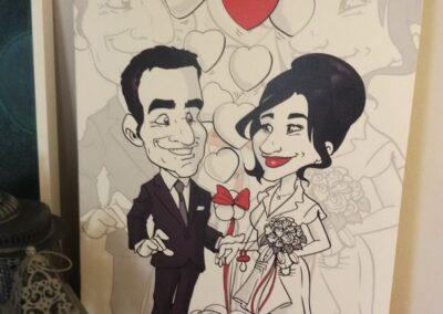 quadro-sposi-caricatura-personalizzata-bianconero_valentino-villanova-400x284 Partecipazioni nuziali con caricatura