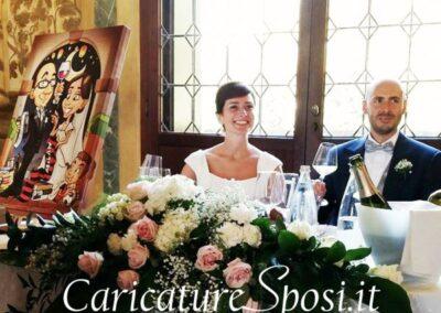 quadro-sposi-caricatura-personalizzata-colori-romantico_valentino-villanova-400x284 Partecipazioni nuziali con caricatura