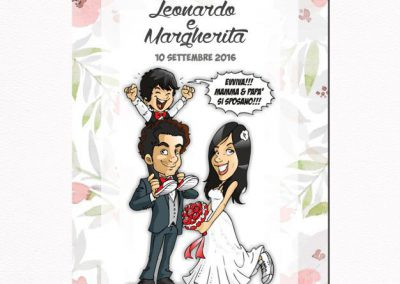 romantico-floreale-invito-a-nozze-caricatura_valentino-villanova-400x284 Partecipazioni nuziali con caricatura
