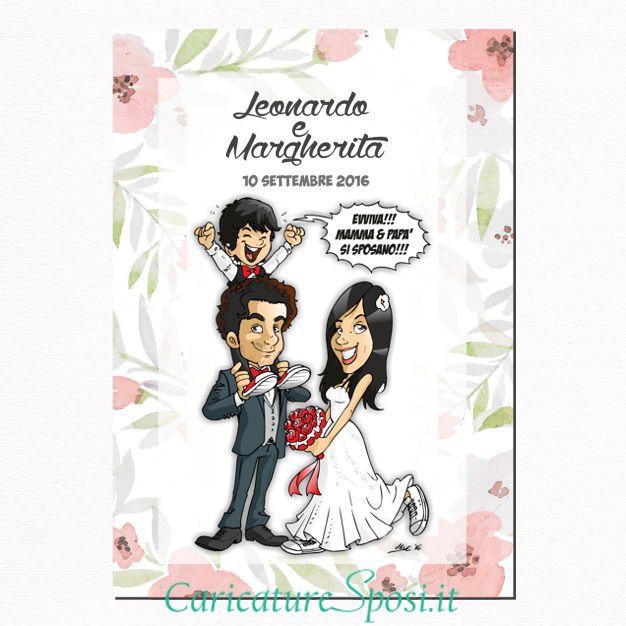 Partecipazioni Matrimonio Caricature.Partecipazioni Nuziali Caricature Sposi