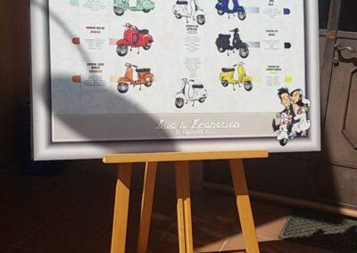 tableau-mariage-personalizzato-sposi-vespa_valentino-villanova-400x284 Partecipazioni nuziali con caricatura
