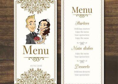 valentino-villanova-menu-di-nozze-caricatura-400x284 Partecipazioni nuziali con caricatura