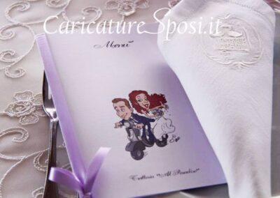valentino-villanova-menu-di-nozze-caricatura-vespa-personalizzata-400x284 Partecipazioni nuziali con caricatura