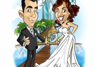 caricatura-sposi-aereo-viaggio-dubai-caraibi-matrimonio-personalizzata_valentino-villanova-400x284 Caricature degli sposi da foto