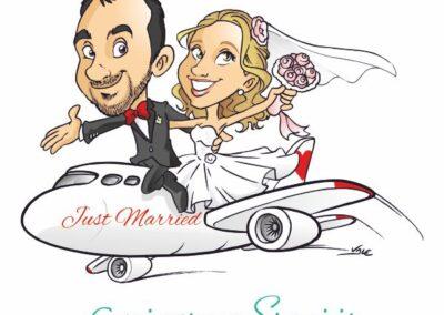 caricatura-sposi-aereo-viaggio-matrimonio-personalizzata_valentino-villanova-400x284 Caricature degli sposi da foto