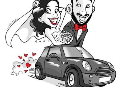 caricatura-sposi-auto-mini-cooper-matrimonio-personalizzata_valentino-villanova-400x284 Caricature degli sposi da foto