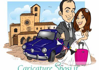 caricatura-sposi-auto-viaggio-chiesa-matrimonio-personalizzata_valentino-villanova-400x284 Caricature degli sposi da foto