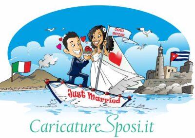 caricatura-sposi-barca-napoli-cuba-romantico_valentino-villanova-400x284 Caricature degli sposi da foto