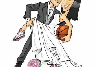 caricatura-sposi-basket-elegante-romantico-bacio-matrimonio-personalizzata_valentino-villanova-400x284 Caricature degli sposi da foto