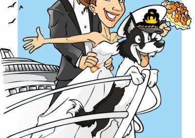 caricatura-sposi-cane-viaggio.nave-crociera_valentino-villanova-400x284 Caricature degli sposi da foto