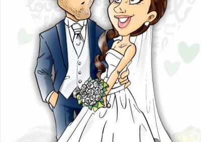 caricatura-sposi-elegante-rose-romantico-bacio-matrimonio-personalizzata_valentino-villanova-400x284 Caricature degli sposi da foto