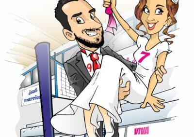 caricatura-sposi-pallavolo-matrimonio-personalizzata_valentino-villanova-400x284 Caricature degli sposi da foto