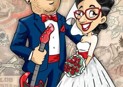 caricatura-sposi-rock-usa-rockabilly-matrimonio-personalizzata_valentino-villanova-400x284 Caricature degli sposi da foto