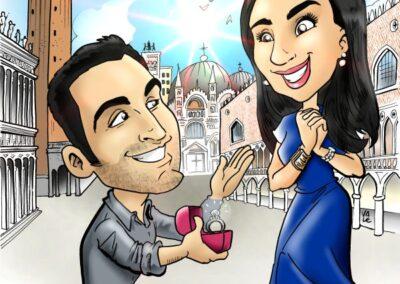caricatura-sposi-venezia-venice-elegante-romantico-bacio-matrimonio-personalizzata_valentino-villanova-400x284 Caricature degli sposi da foto