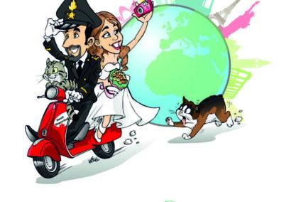 caricatura-sposi-vespa-gatto-carabiniere-viaggio-matrimonio-personalizzata_valentino-villanova-400x284 Caricature degli sposi da foto