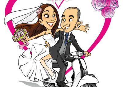 caricatura-sposi-vespa-romantico-matrimonio-personalizzata_valentino-villanova-400x284 Caricature degli sposi da foto